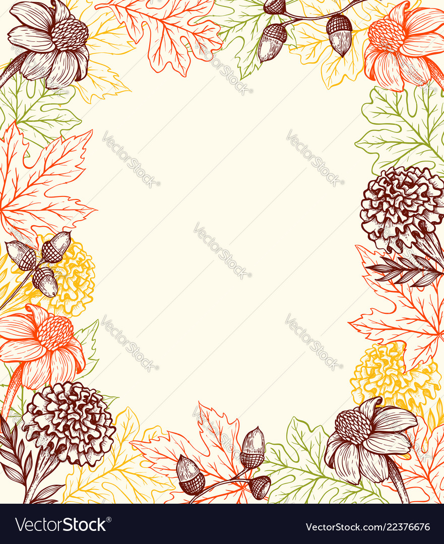 Autumn vintage background with flowers