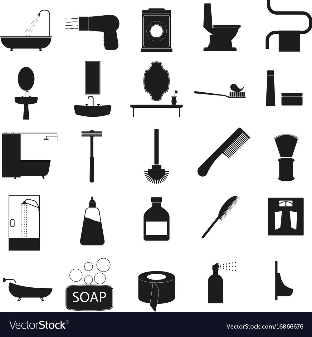 Bath accessories set black icon on white