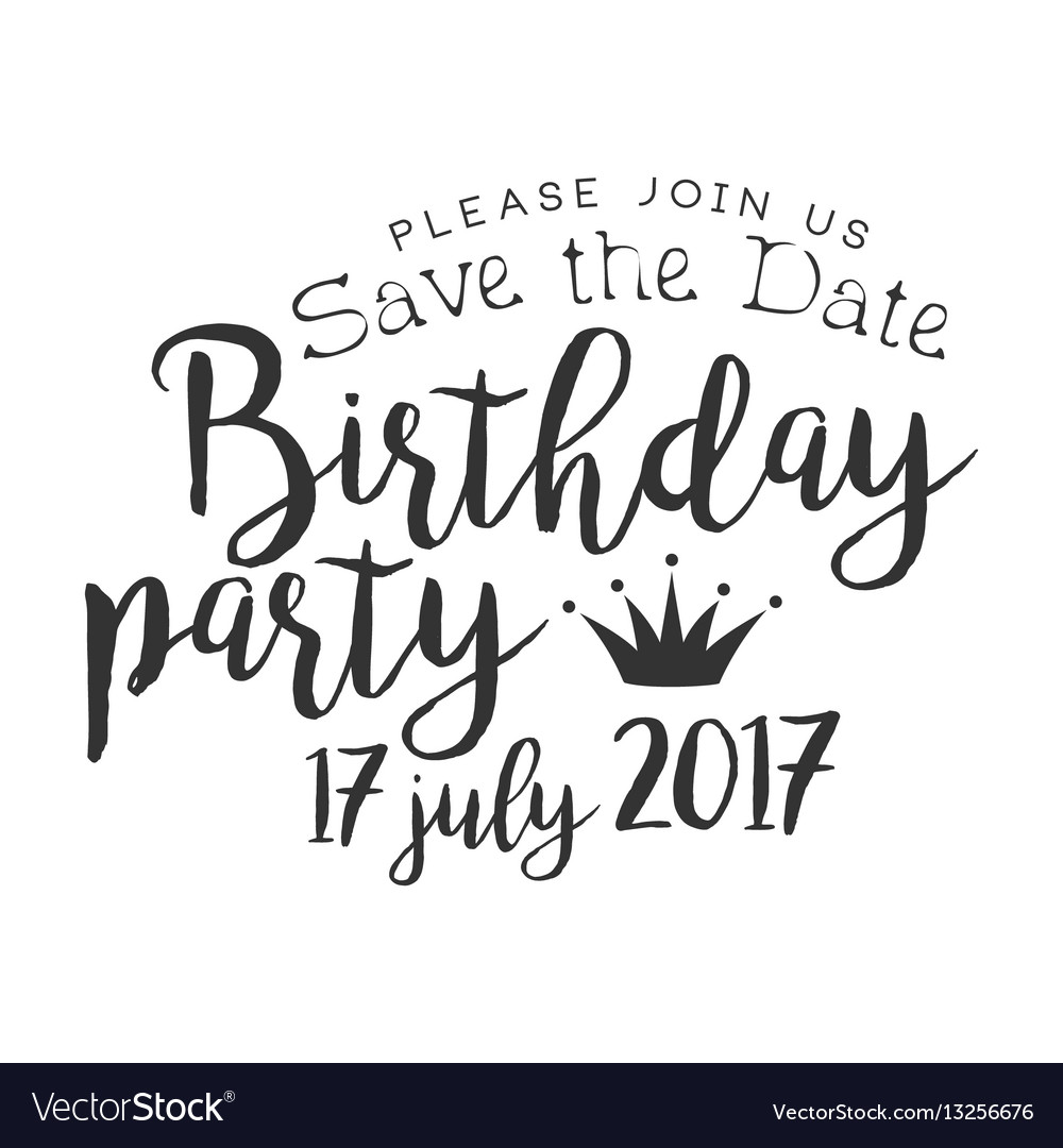Birthday party black and white invitation card