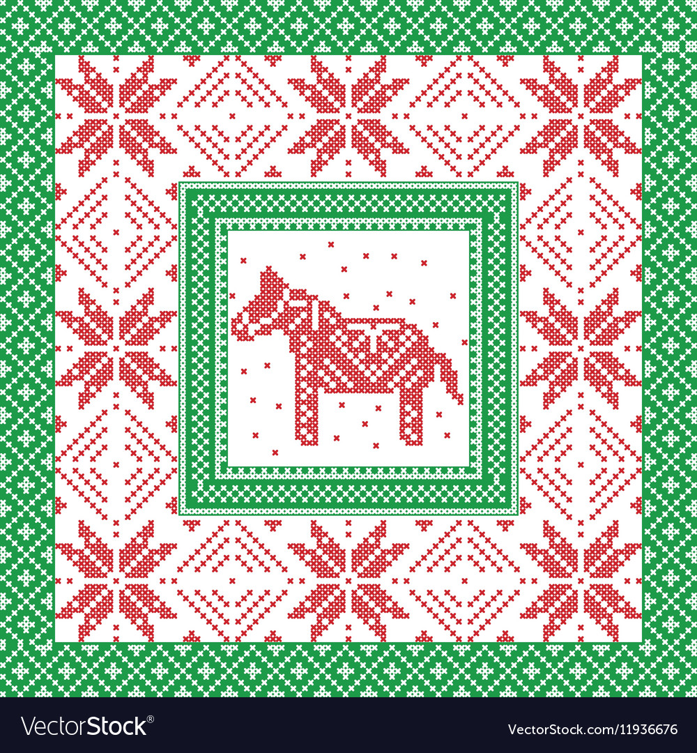 Christmas pattern with horse and snowflakes in