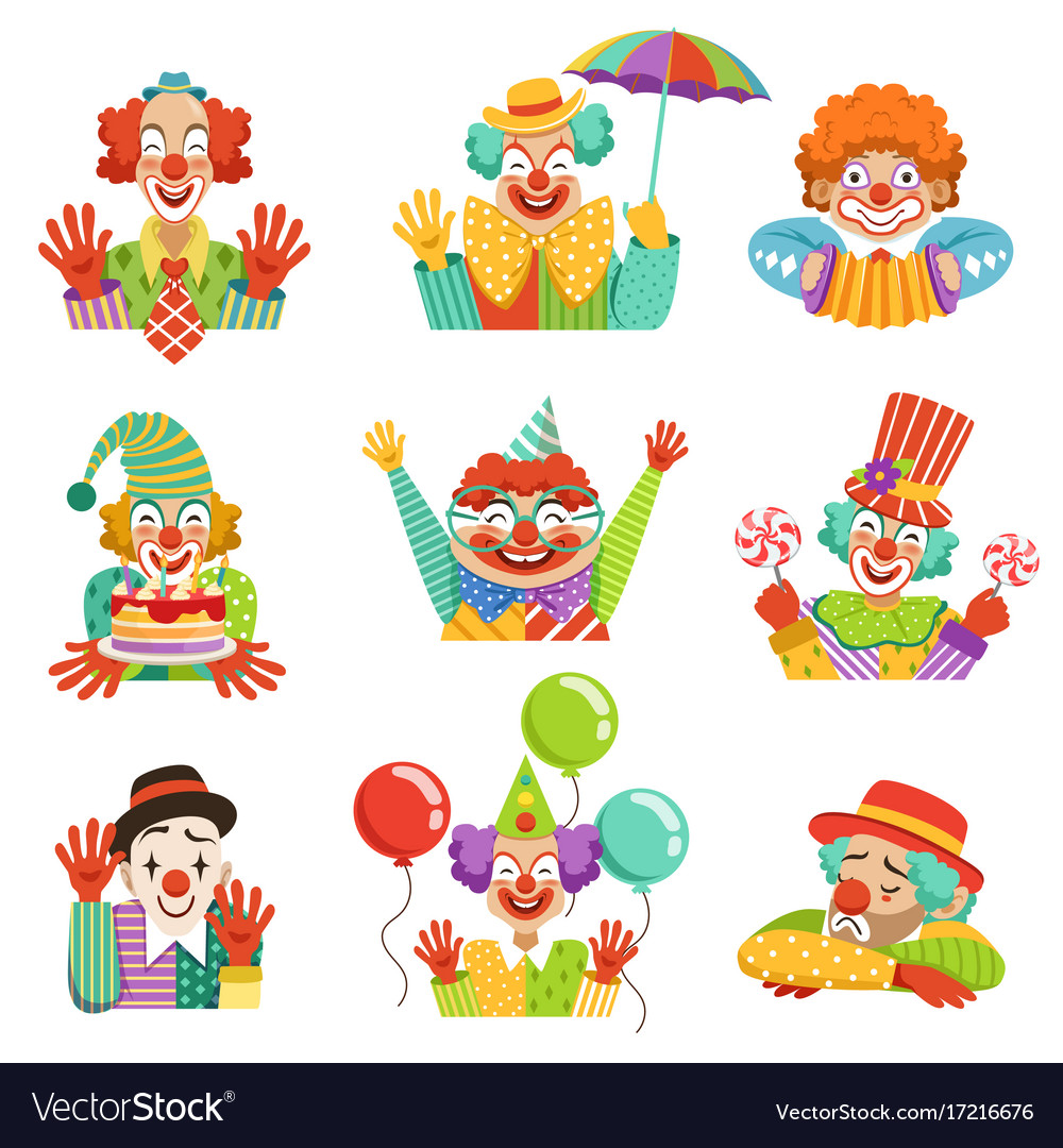 Funny cartoon friendly clowns character colorful