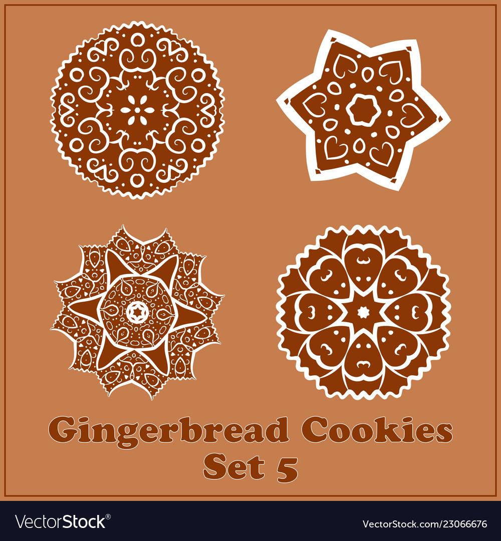 Gingerbread Snowflakes Cookies Set Merry Vector Image On Vectorstock