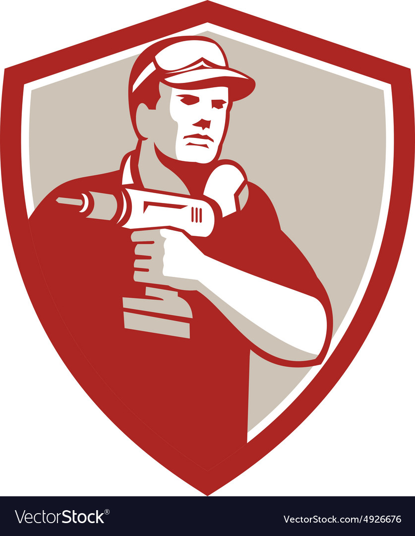 Handyman Holding Power Drill Crest Retro vector image