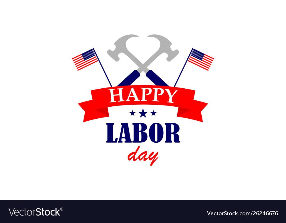 Happy labor day usa logo design