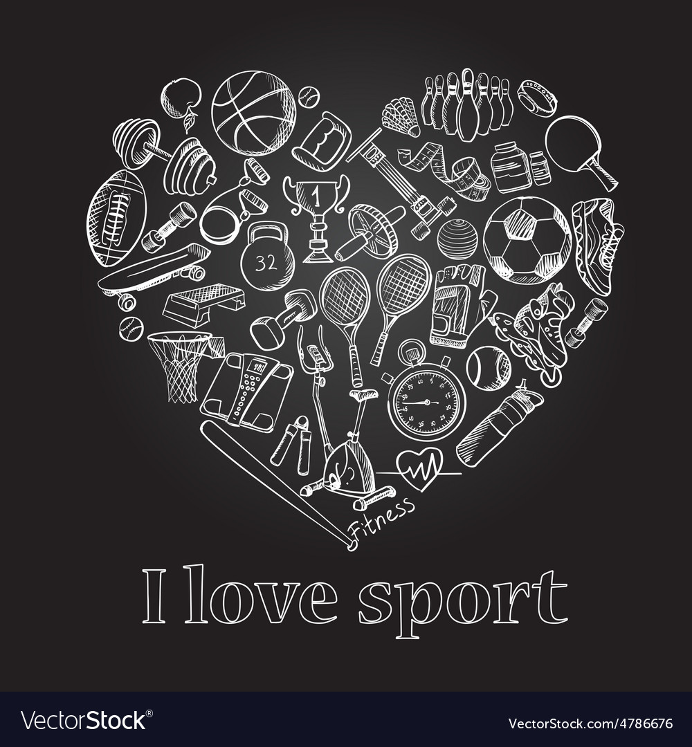 I love sport hand drawn doodle set