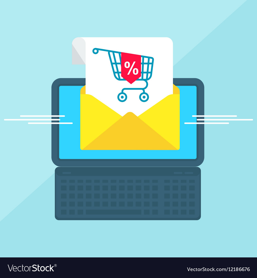 Laptop with envelope sale vector image