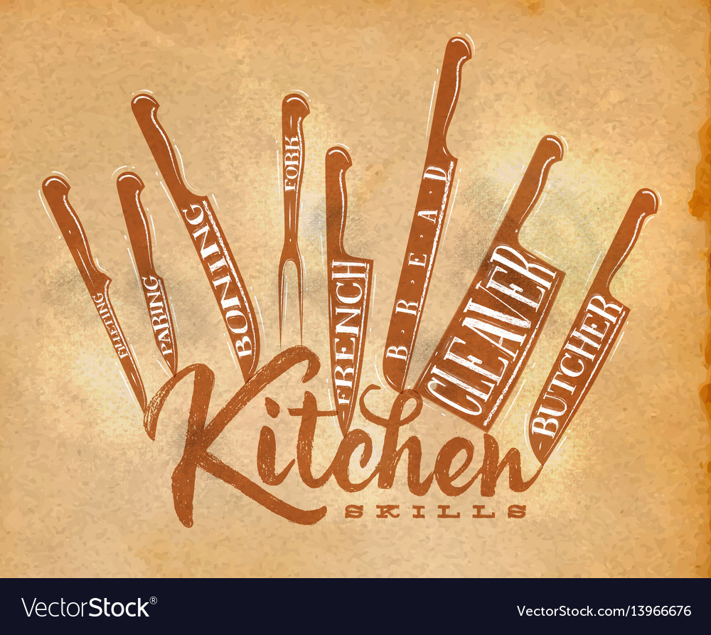 meat cutting knifes poster craft royalty free vector image