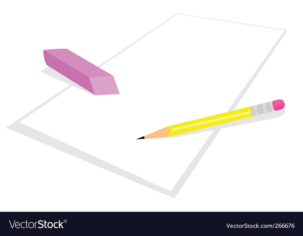 Pencil and elastic band vector image