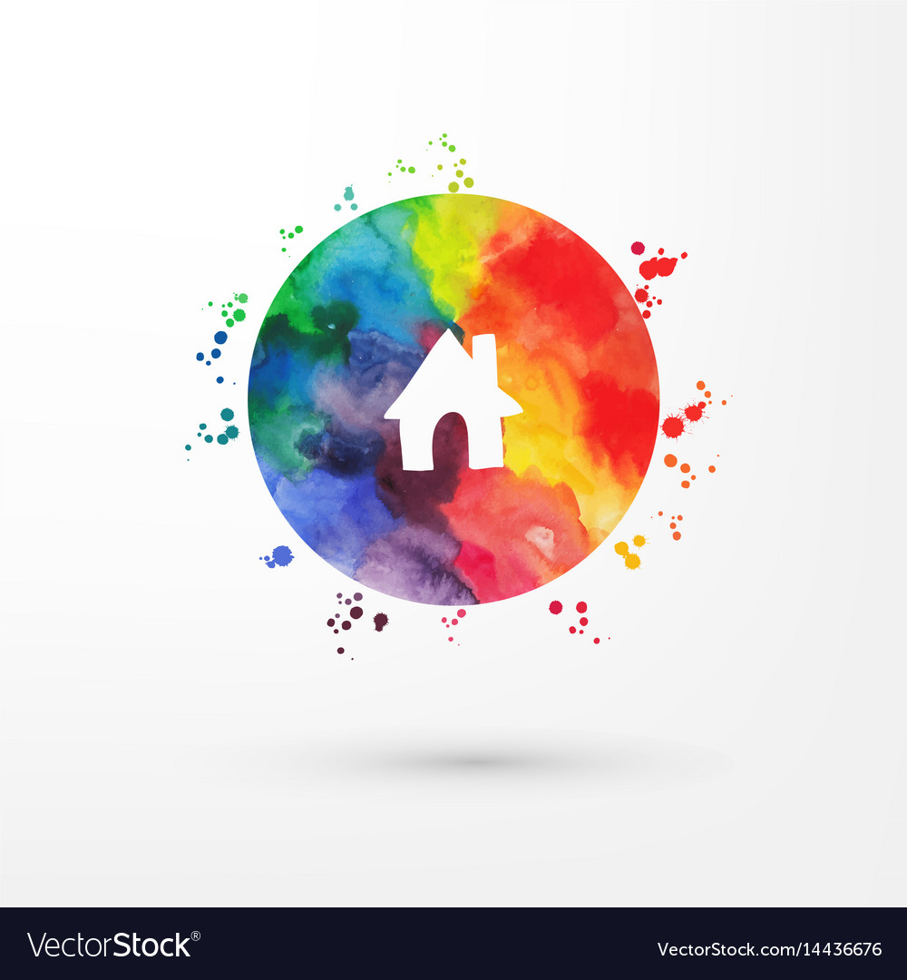 Rainbow grungy watercolor icon inside vector image