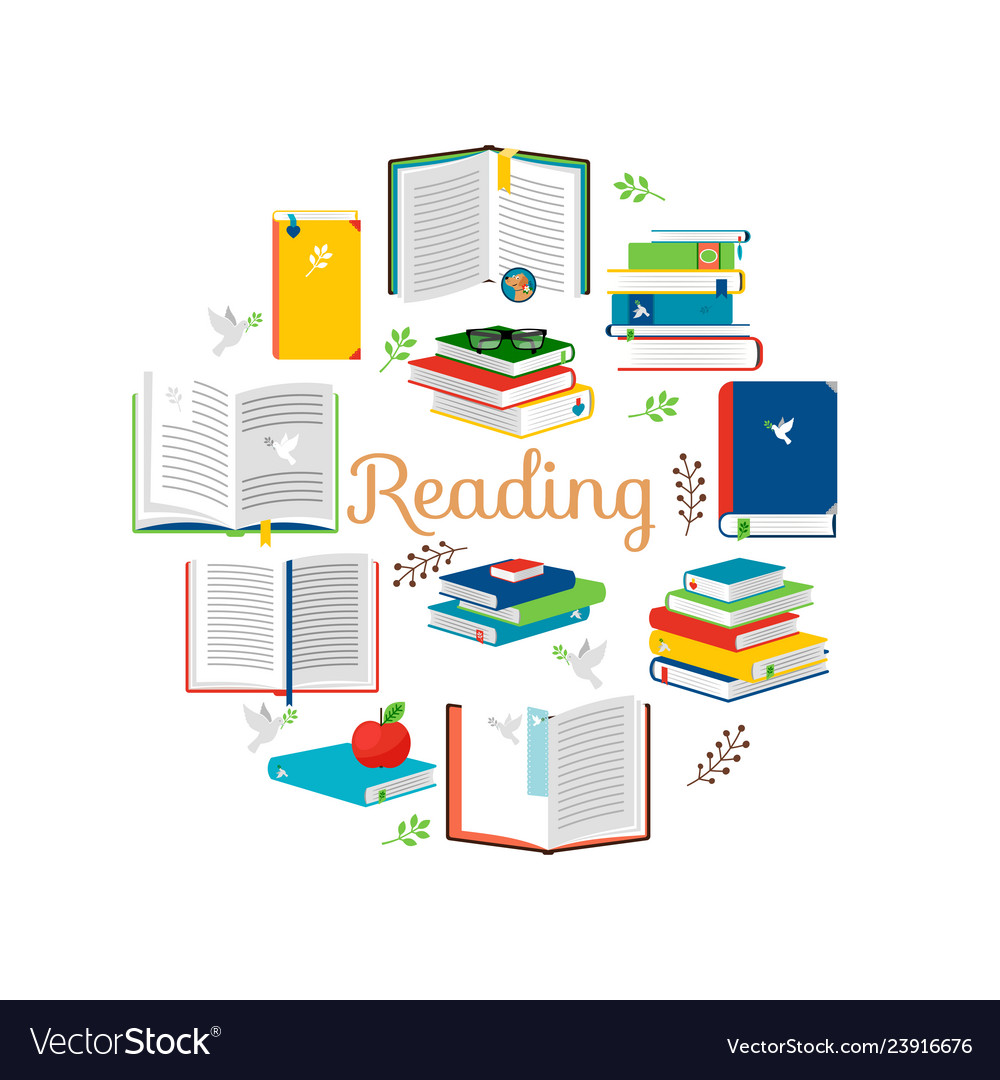 Reading concept with isometric style books