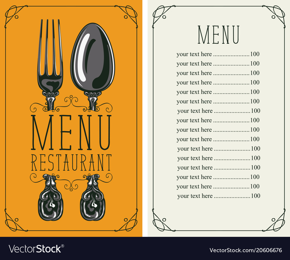 Restaurant menu with price list fork and spoon