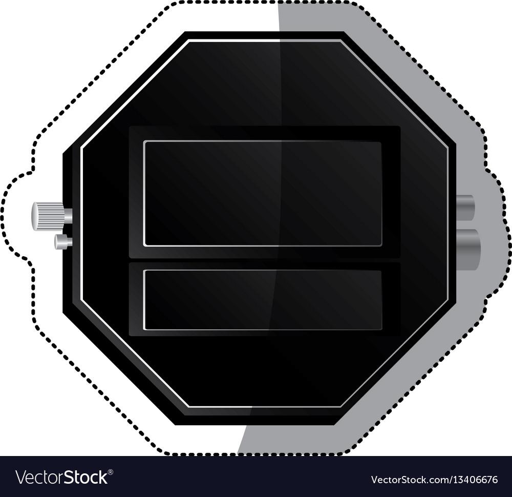 Sticker black empty screen digital chronometer