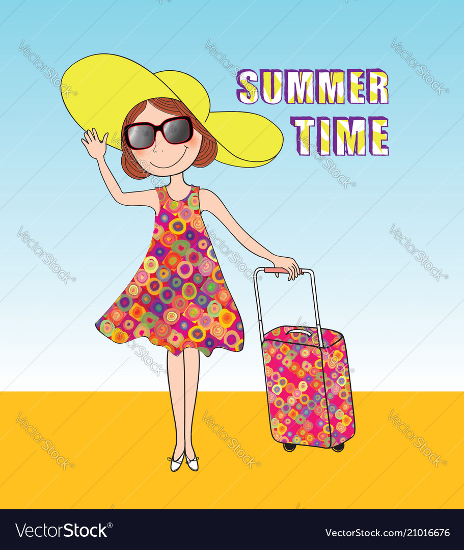 Summer travel background time card girl