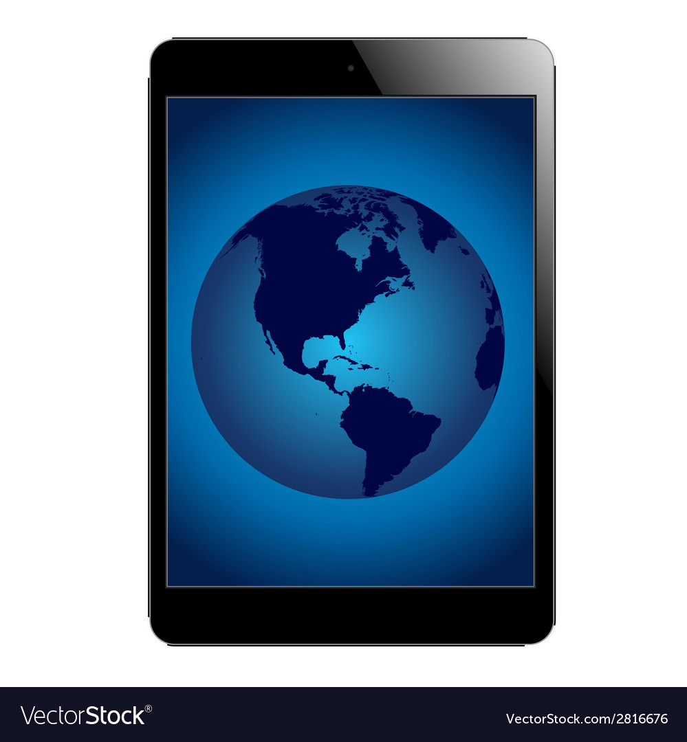 Tablet with globe vector image