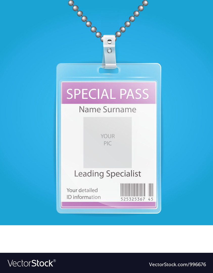 Transparent plastic id holder for any background vector