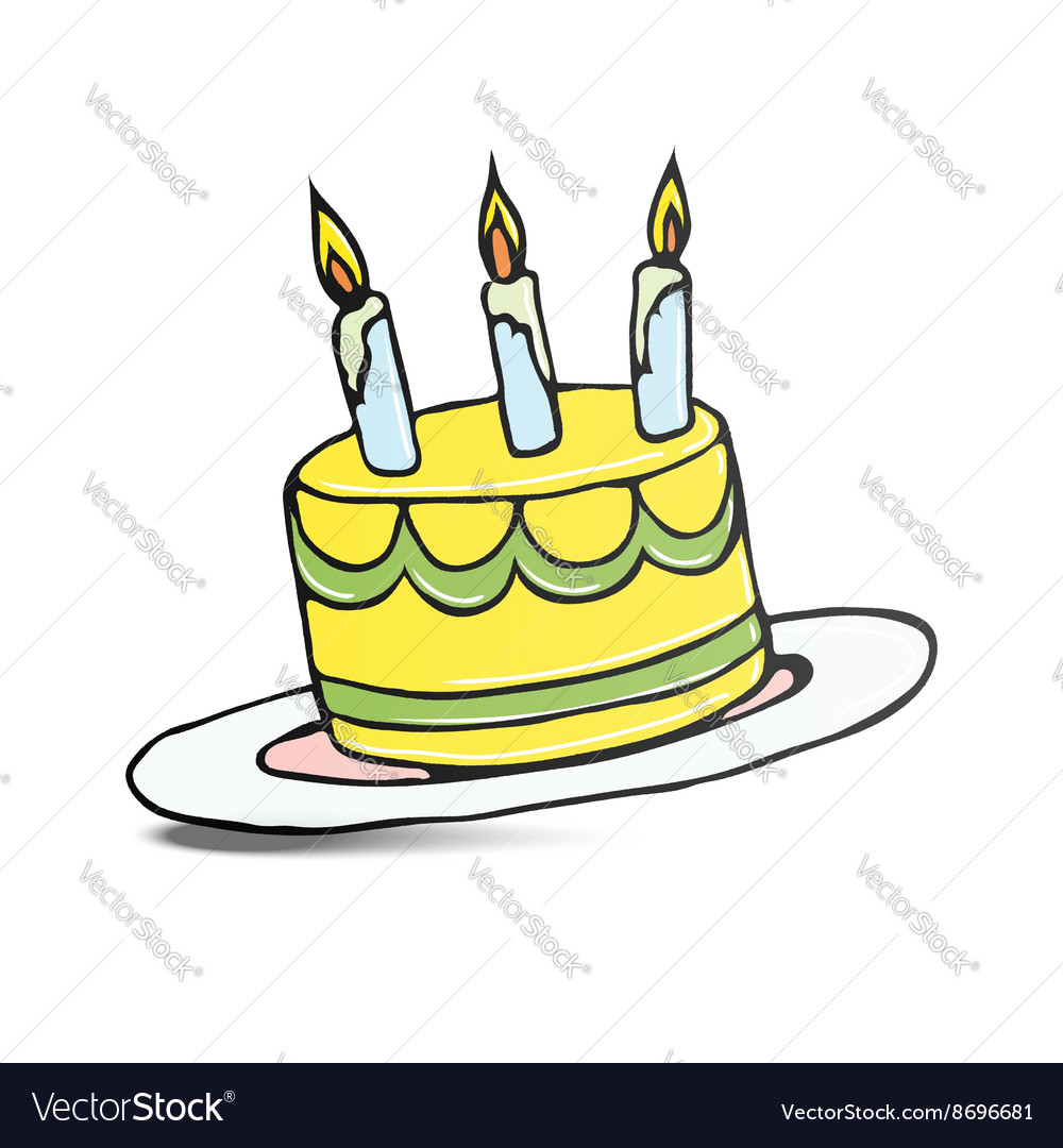 Birthday Cake With Three Lit Candles Royalty Free Vector