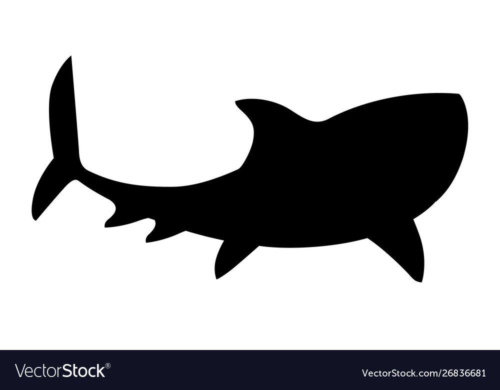 Black silhouette shark giant apex predator cartoon