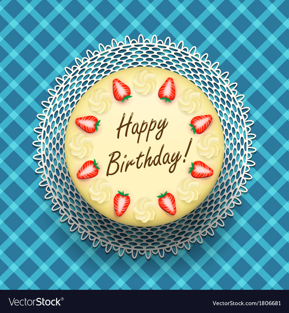 Amazing Cheese Birthday Cake With Strawberries Royalty Free Vector Funny Birthday Cards Online Alyptdamsfinfo