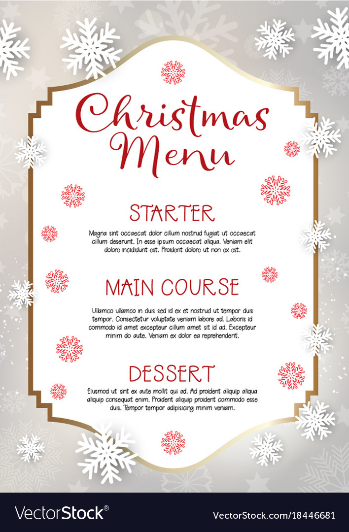 christmas menu design background royalty free vector image