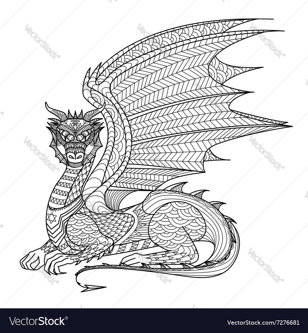 - Dragon Coloring Page Royalty Free Vector Image