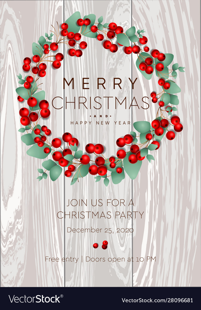 Merry christmas and happy new year poster wreath