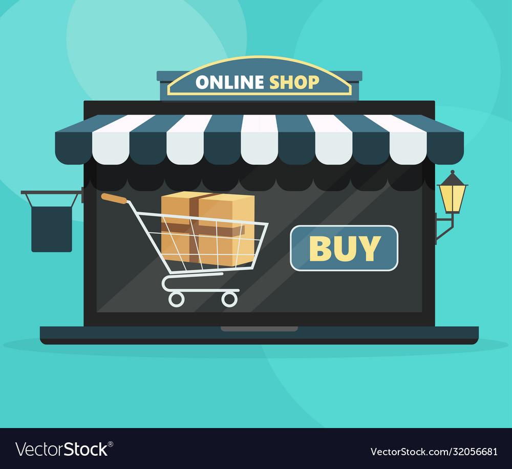 Online shop concept open laptop with buy screen