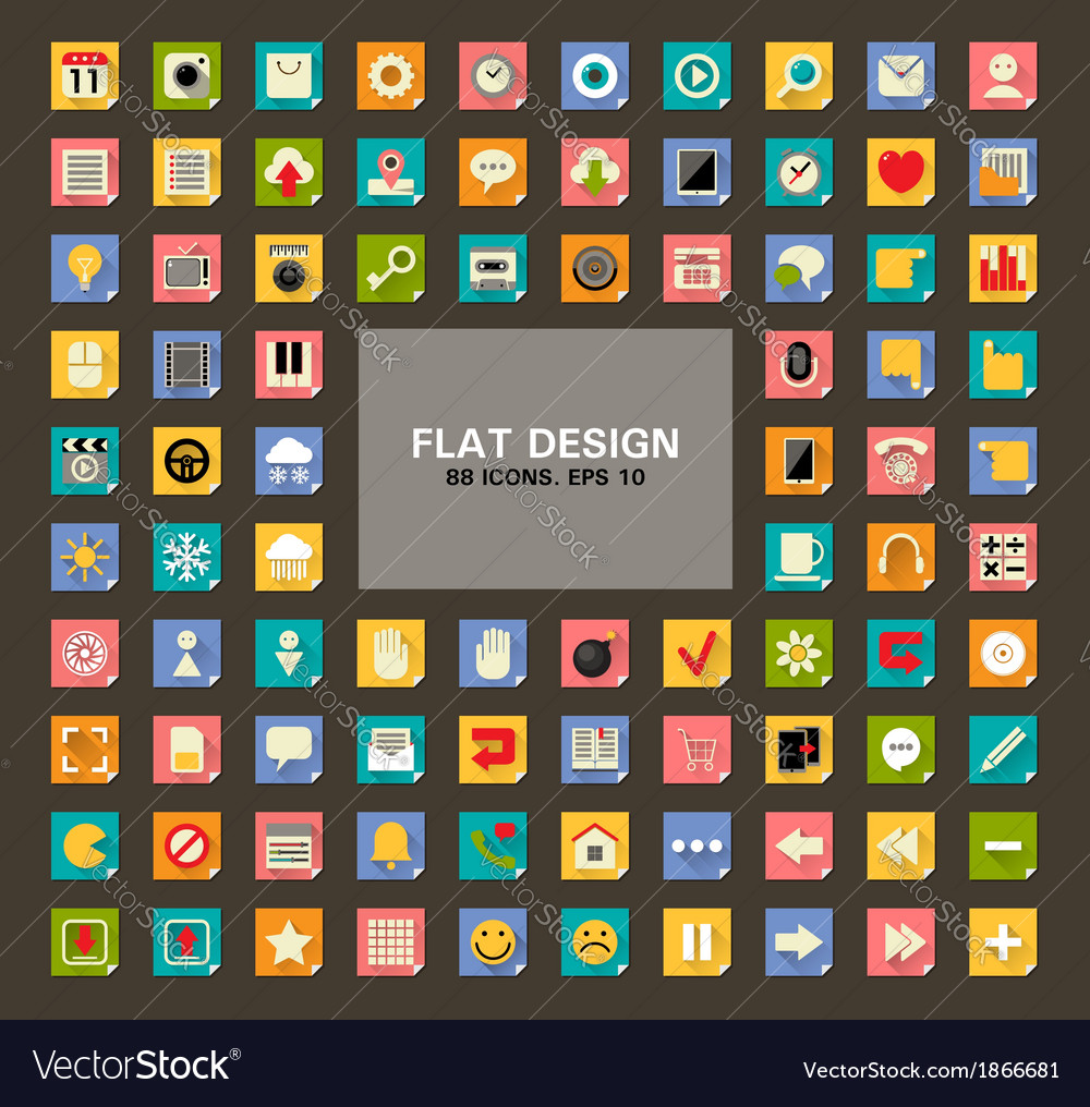 Set 88 universal flat web and mobile icons