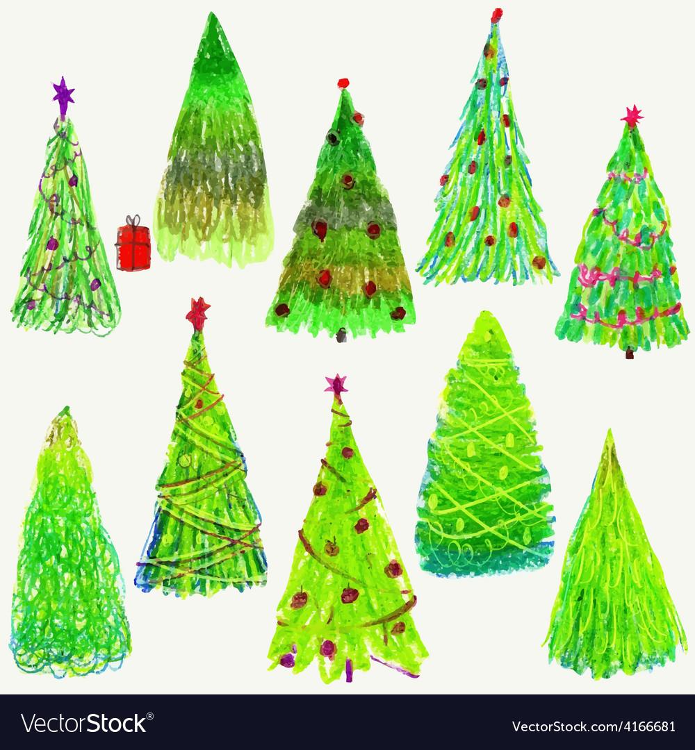 Set of Christmas trees isolated on white