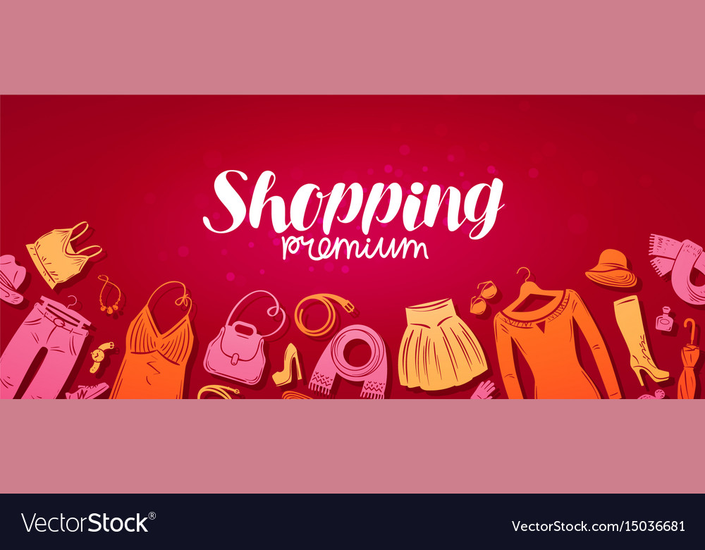 Shopping boutique banner fashion store concept vector image for Design on line outlet