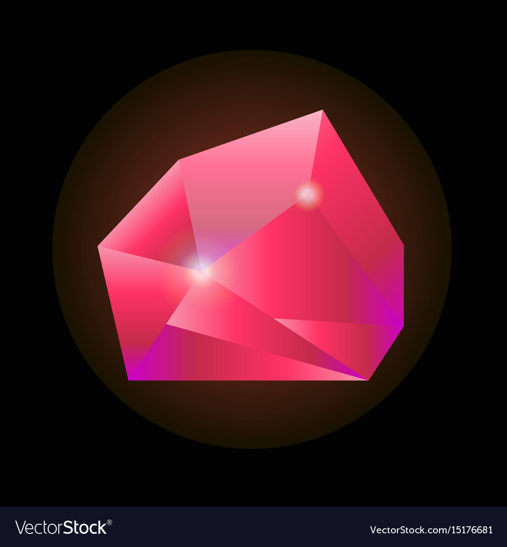 Sparkling crystal in pink color isolated on black