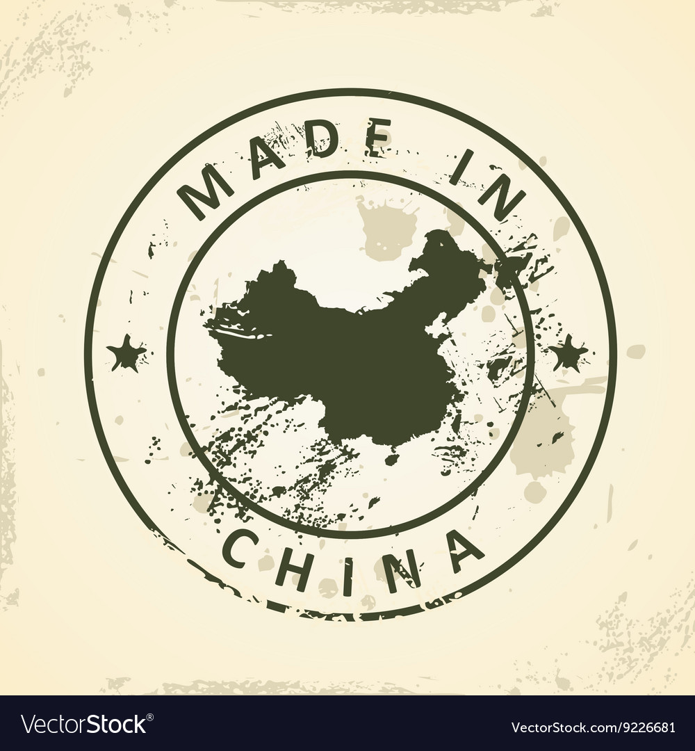 Stamp with map of China vector image