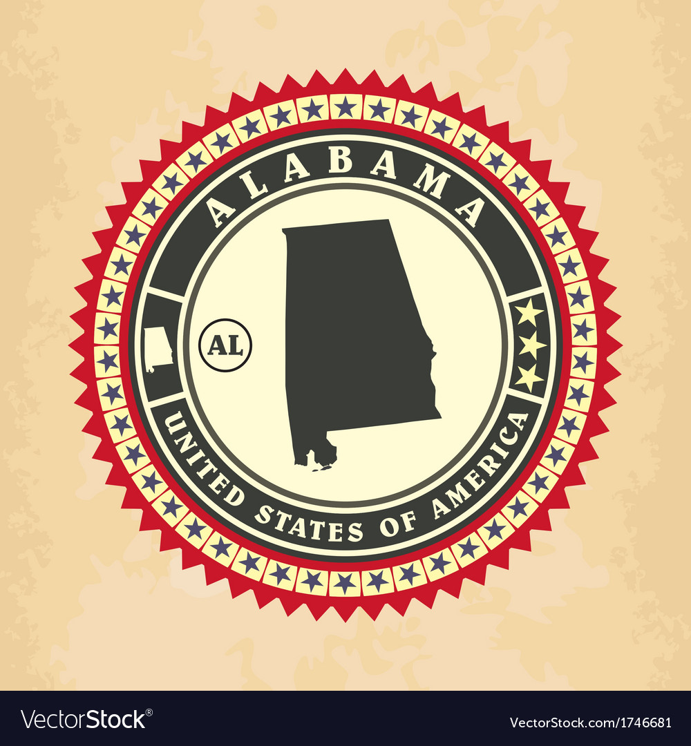 Vintage label-sticker cards of Alabama Royalty Free Vector
