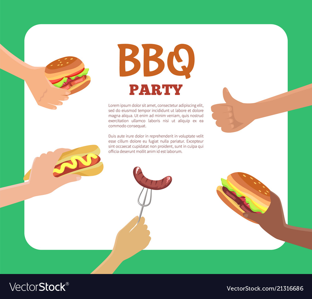 Bbq party text sample hands