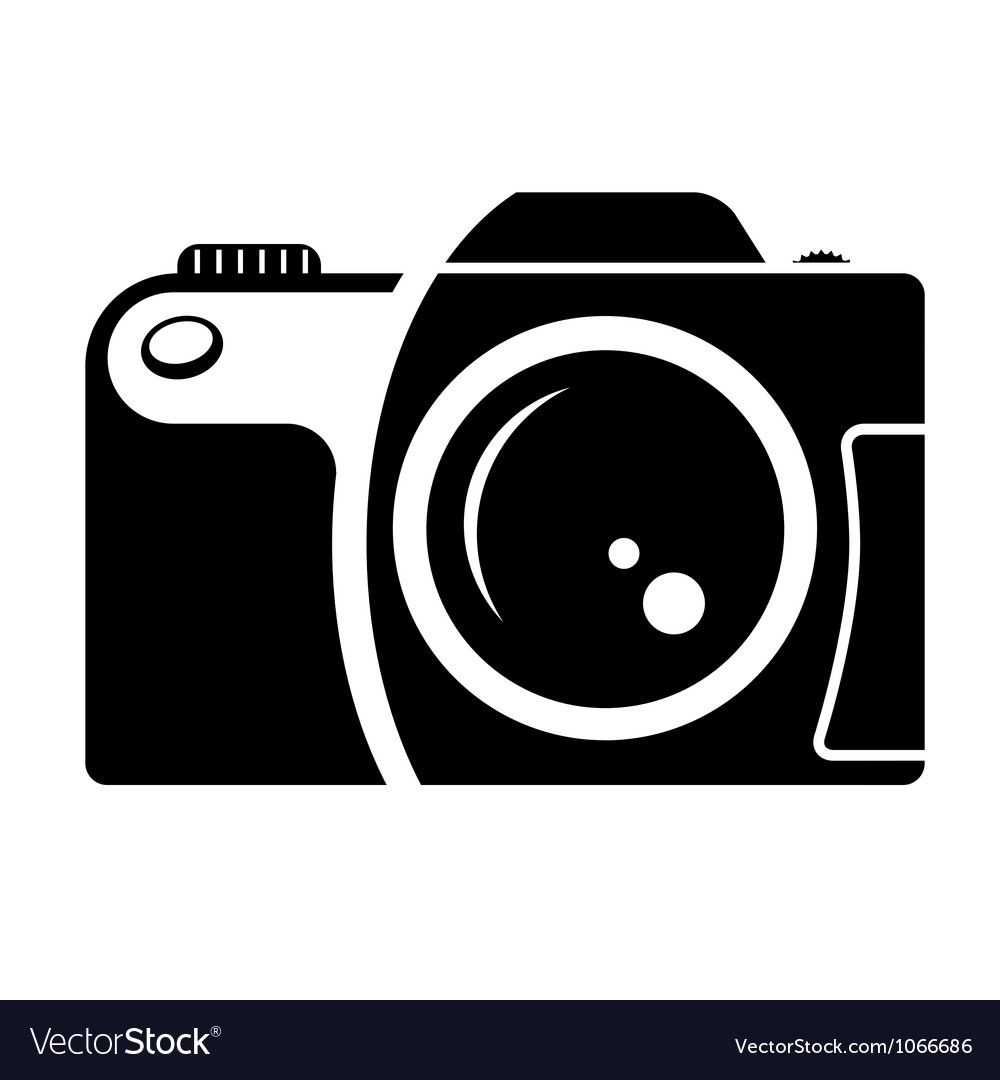 Camera sign black and white icon vector image