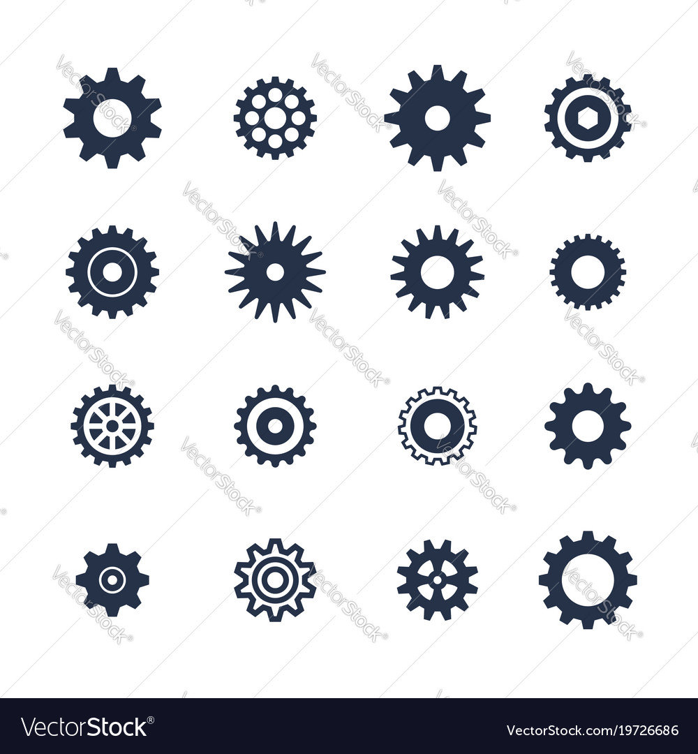 Cogs symbol set on white background settings icon