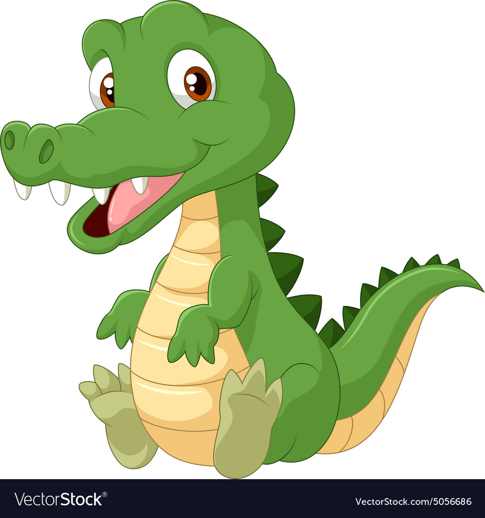 Cute cartoon crocodile Royalty Free Vector Image - photo#14