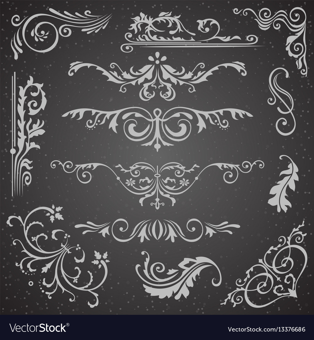 Dark flourish border corner and frame elements vector image