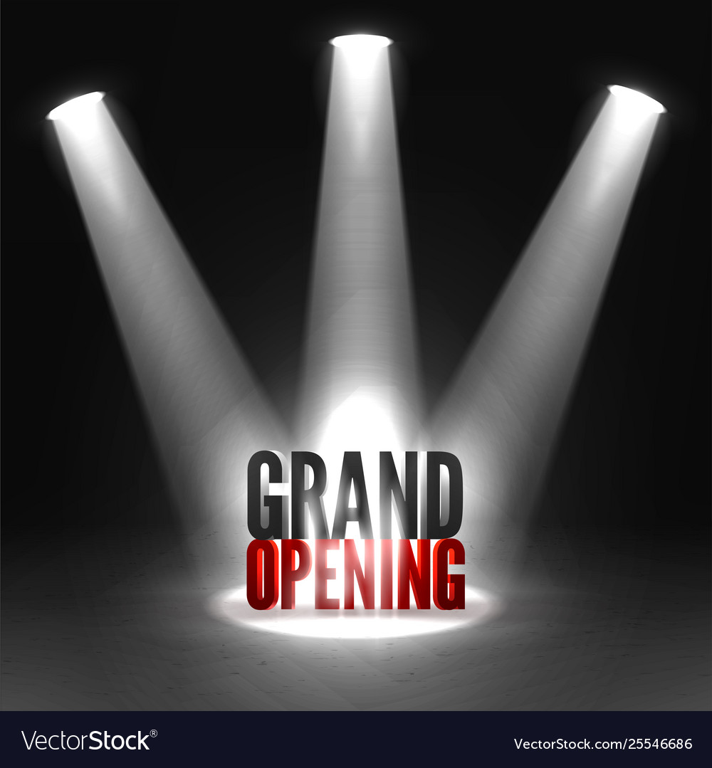 Grand opening event banner in three spotlights
