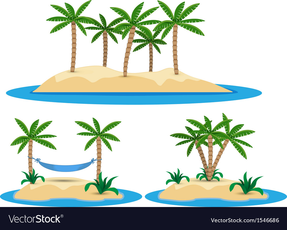 Isolated island with palm trees