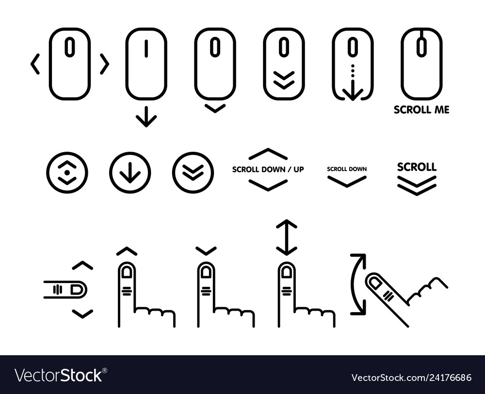 Linear pictogram of scroll down scroll down up