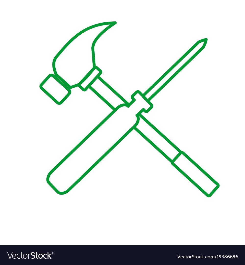 Outline screwdriver hammer cro...