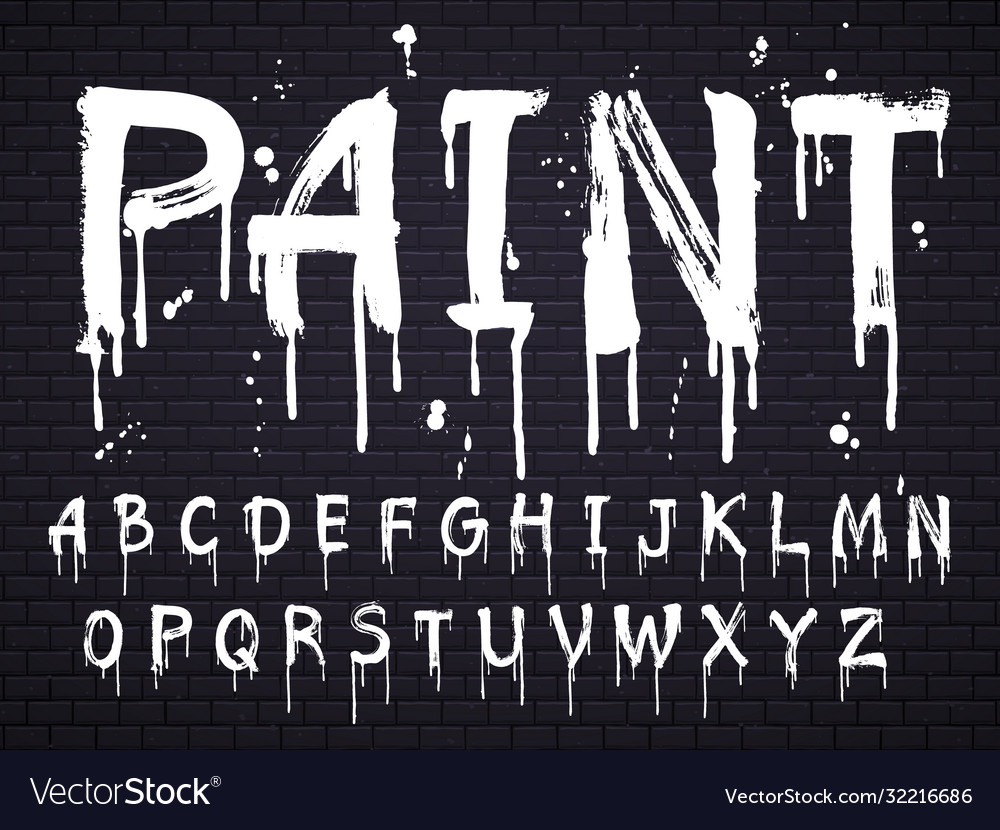 Paint dripping paint font for latin alphabet