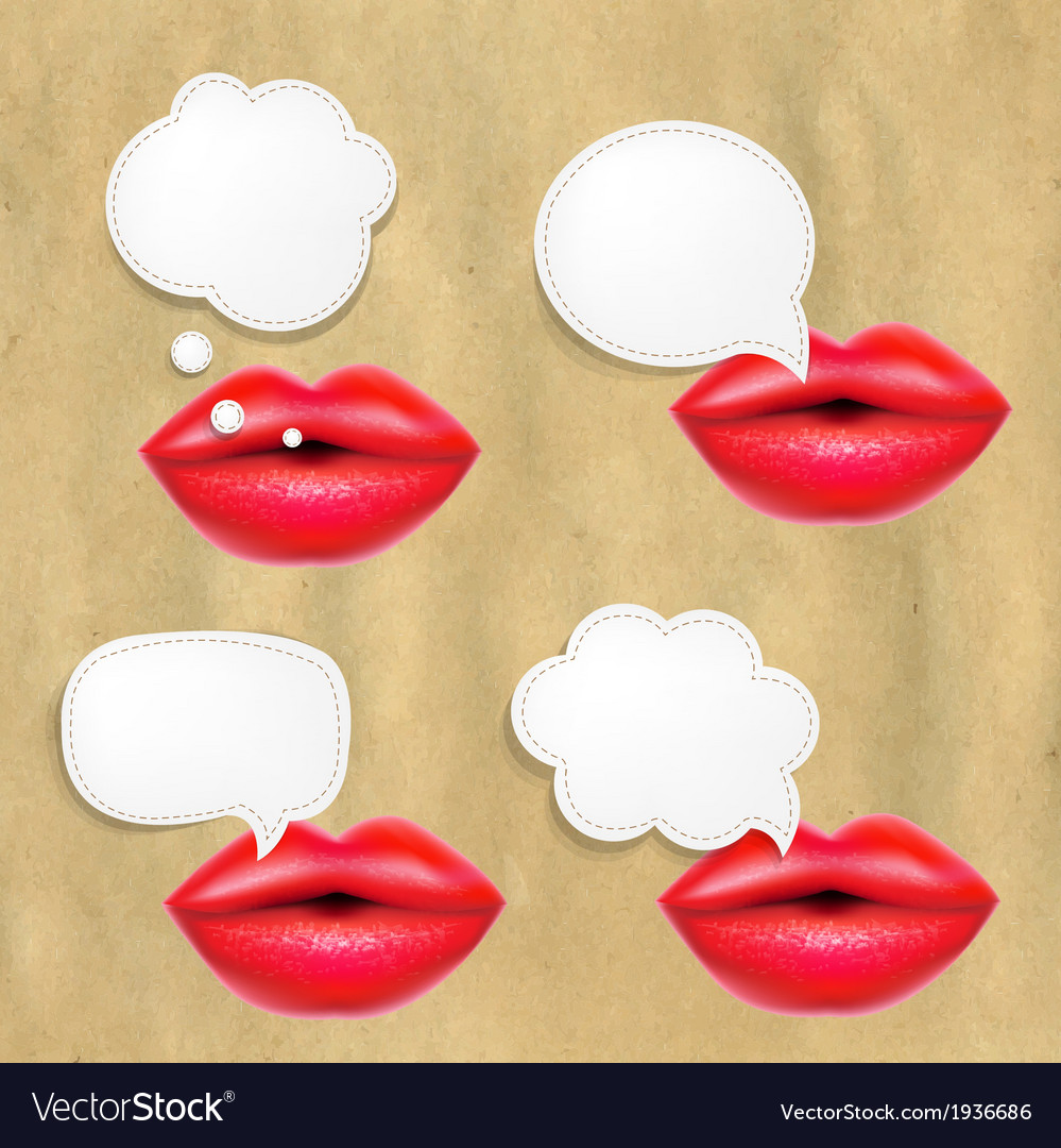 Red Lips Set With Speech Bubbles vector image