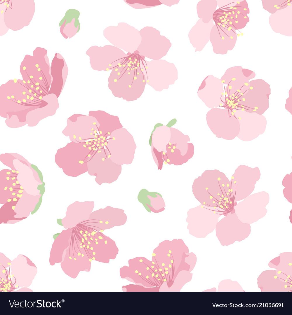 Cherry sakura pink blossom floral seamless pattern