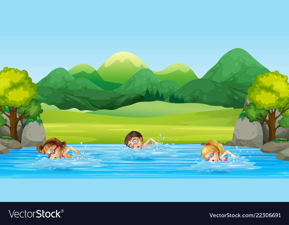 children swimming in the river royalty free vector image vectorstock