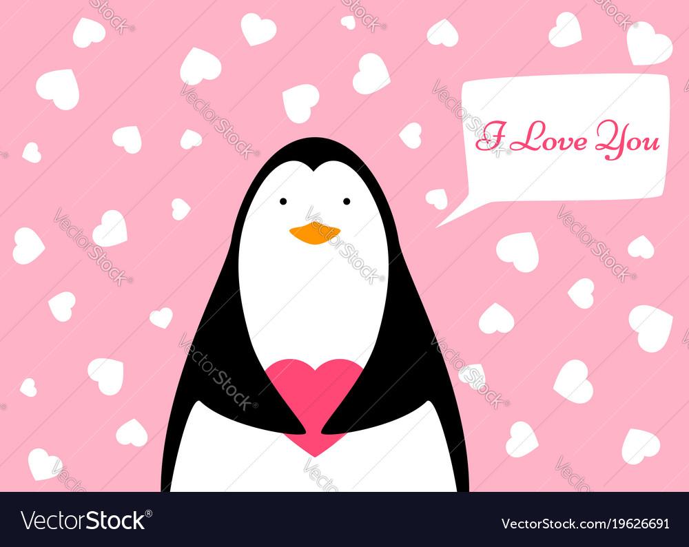 Funny cute penguin heart valentine
