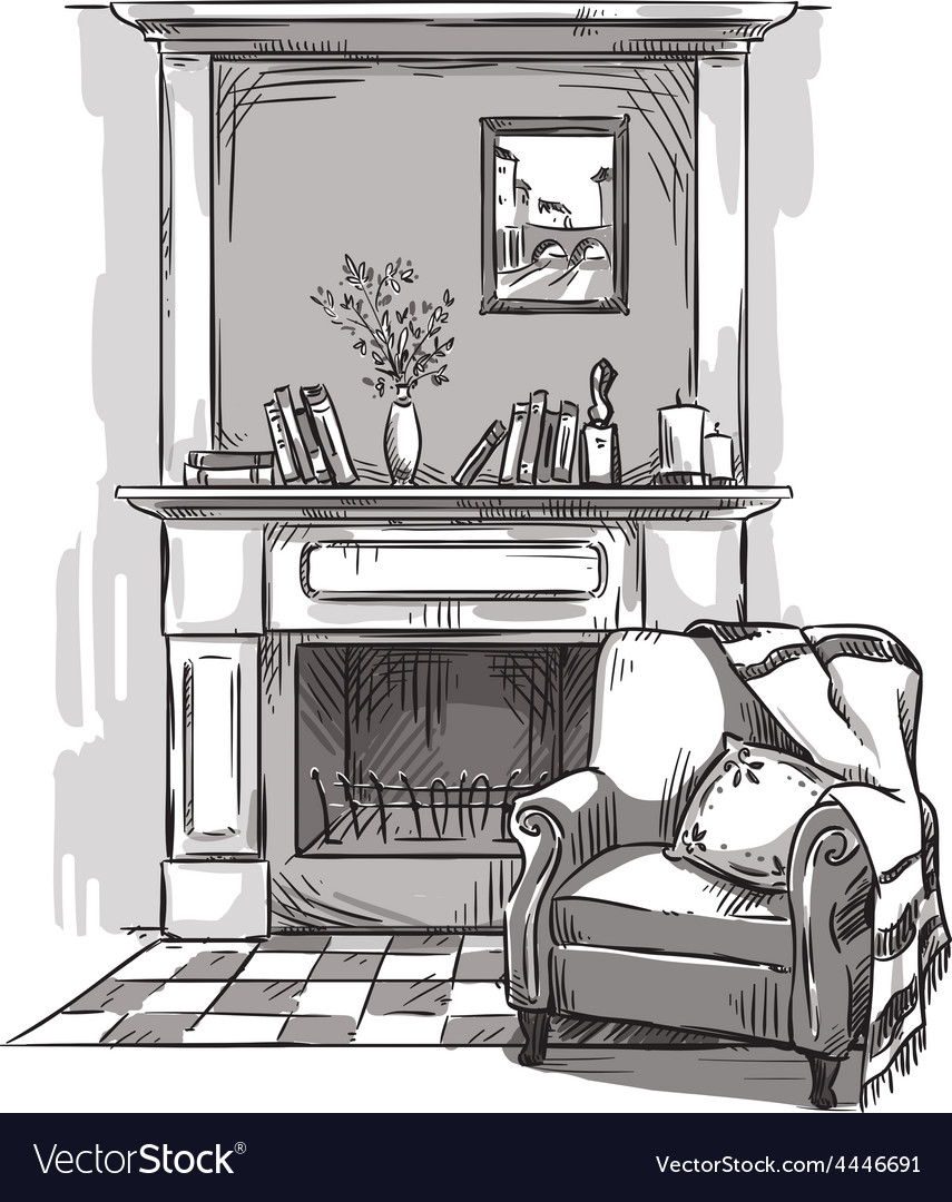 Hand drawn fireplace and an armchair