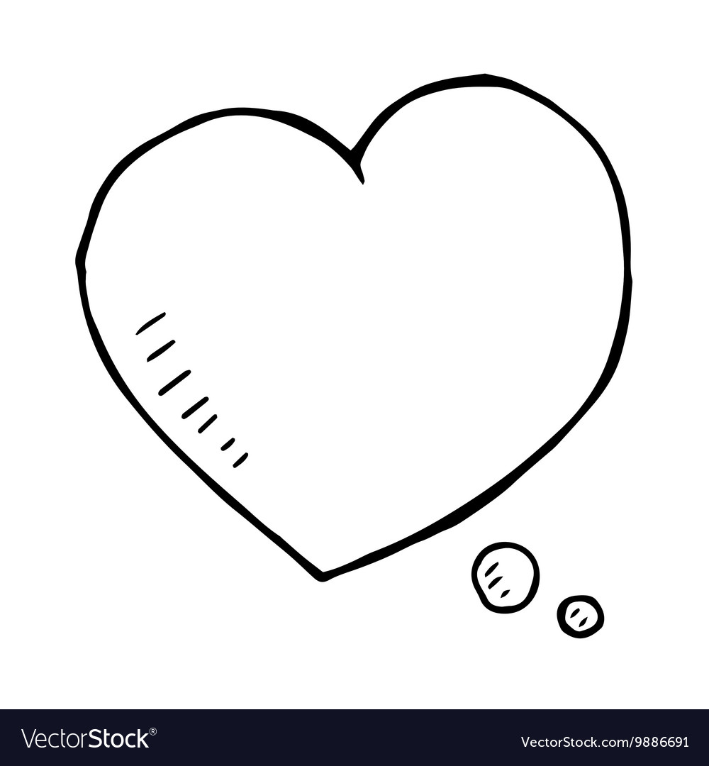 Hand drawn love speech bubble isolated vector image