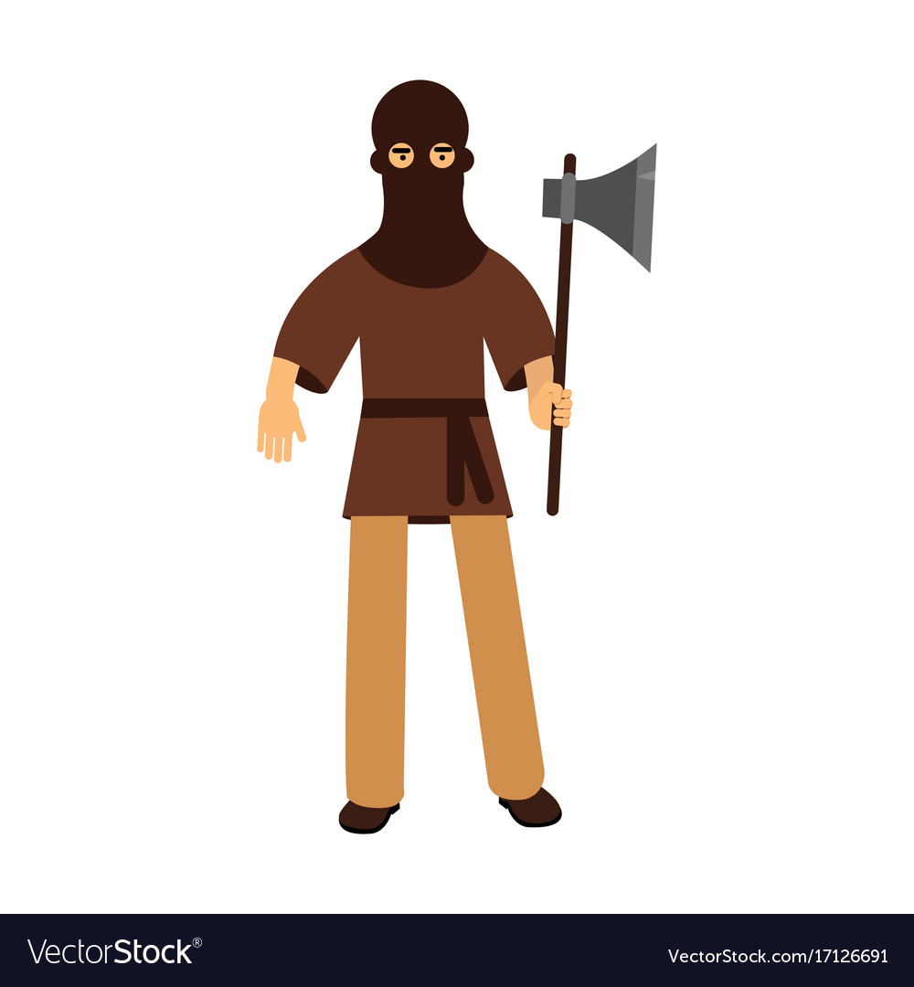 Medieval executioner character standing with ax
