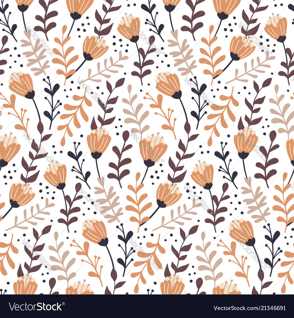 Modern seamless pattern with autumn floral